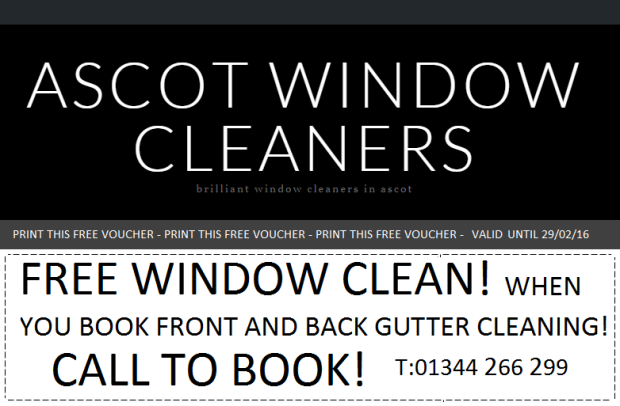FREE WINDOW CLEANING VOUCHER BRACNELL AND ASCOT